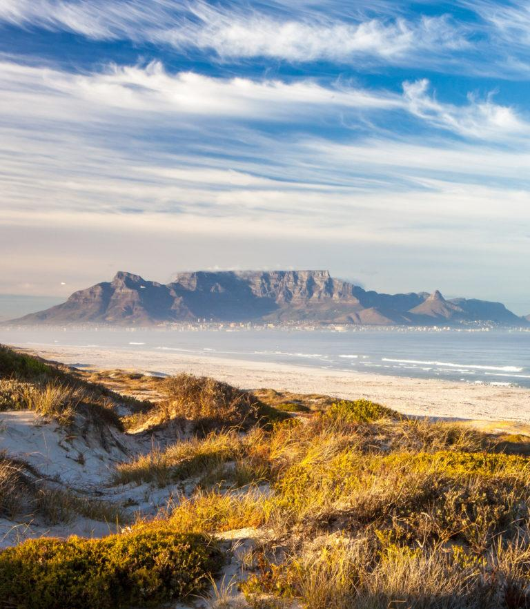 View of Table Mountain and Cape Town from Blouberg Beach